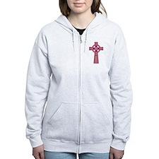 Pink Celtic Cross Zip Hoodie