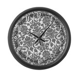Designer Damask Pattern Large Wall Clock