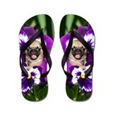 Pug in Pansies Flip Flops