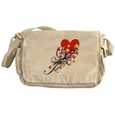 Swirls and Skulls Heart Messenger Bag