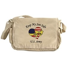 US Army Mom & Dad Keep My Son Safe Messenger Bag