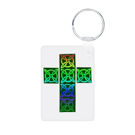 Glowing Celtic Cross Aluminum Photo Keychain