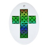 Glowing Celtic Cross Ornament (Oval)