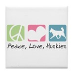 Peace, Love, Huskies Tile Coaster