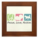 Peace, Love, Huskies Framed Tile