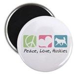 Peace, Love, Huskies Magnet