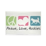 Peace, Love, Huskies Rectangle Magnet (10 pack)