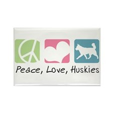 Peace, Love, Huskies Rectangle Magnet (100 pack)