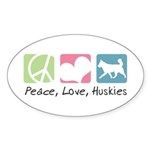Peace, Love, Huskies Sticker (Oval 10 pk)