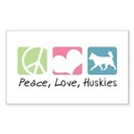 Peace, Love, Huskies Sticker (Rectangle 50 pk)