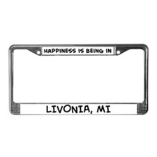 Happiness is Livonia License Plate Frame