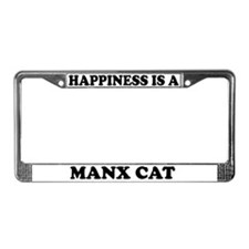 Happiness Is A Manx Cat License Plate Frame