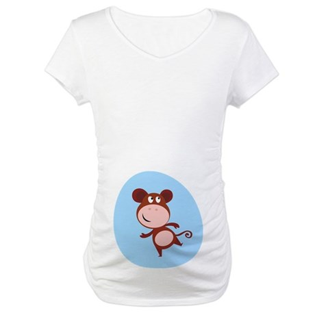 Monkey Baby Belly Print Maternity T-Shirt