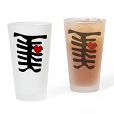 Skeleton with Heart Drinking Glass