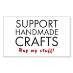 'Support Handmade Crafts' Sticker (Rectangle)