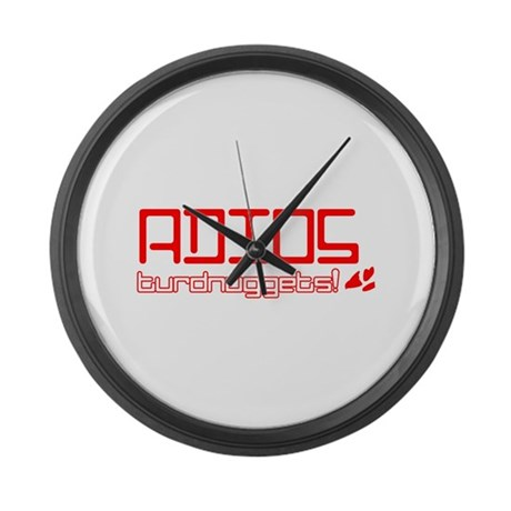 Adios Turdnuggets Large Wall Clock