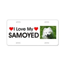 I Love My Samoyed Aluminum License Plate
