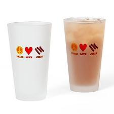 Peace Love Jerky Drinking Glass