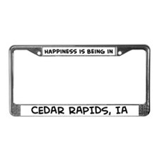 Happiness is Cedar Rapids License Plate Frame