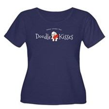 Doodle Kisses Women's Plus Size Scoop Neck Dark T-