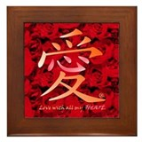 Kanji Love and Roses Framed Tile