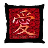 Kanji Love and Roses Throw Pillow