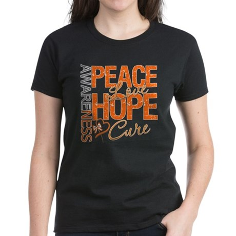 Leukemia Peace Love Hope Women's Dark T-Shirt