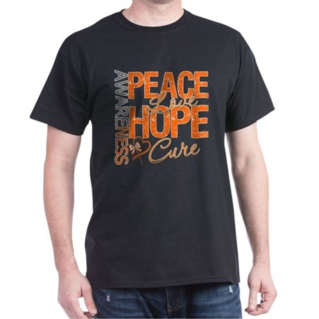 Leukemia Peace Love Hope Dark T-Shirt