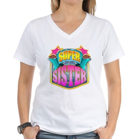 Pink Super Sister Women's V-Neck T-Shirt