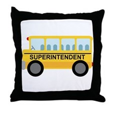 Superintendent School Bus Throw Pillow