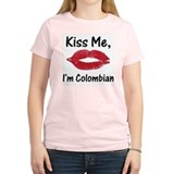 Kiss Me, I'm Colombian Women's Pink T-Shirt