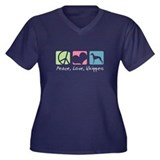 Peace, Love, Whippets Women's Plus Size V-Neck Dar