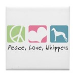 Peace, Love, Whippets Tile Coaster