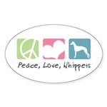 Peace, Love, Whippets Sticker (Oval 50 pk)