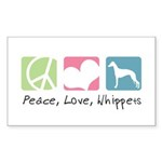 Peace, Love, Whippets Sticker (Rectangle 50 pk)