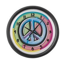 Colorful Peace Sign Large Wall Clock