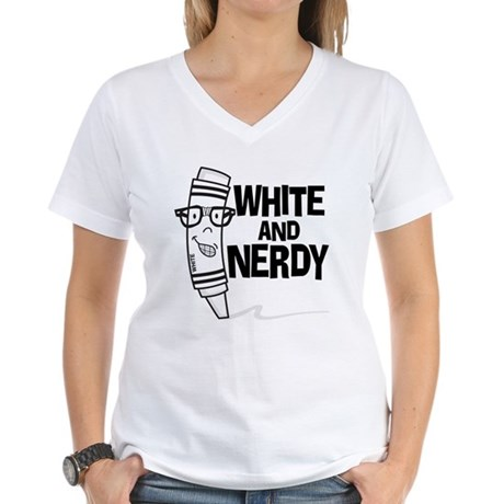 White And Nerdy Women's V-Neck T-Shirt