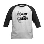 White And Nerdy Kids Baseball Jersey