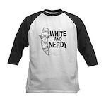White And Nerdy Kids Baseball Jersey