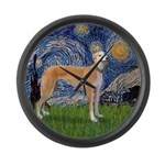 Starry / Greyhound (f) Large Wall Clock