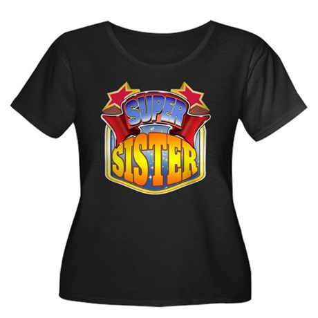 Super Sister Women's Plus Size Scoop Neck Dark T-S