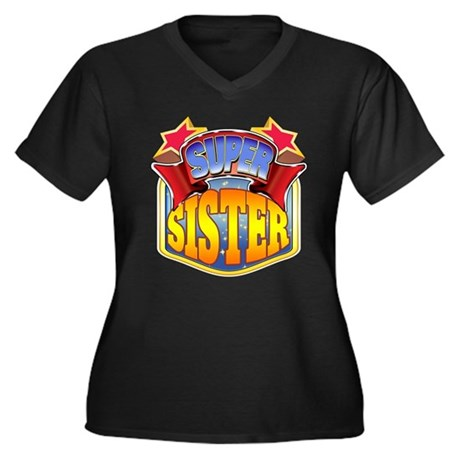 Super Sister Women's Plus Size V-Neck Dark T-Shirt