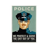 Police Protect &amp; Serve Rectangle Magnet