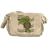 Crocodile With Accordion Messenger Bag