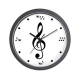 Black and White Treble Clef Wall Clock