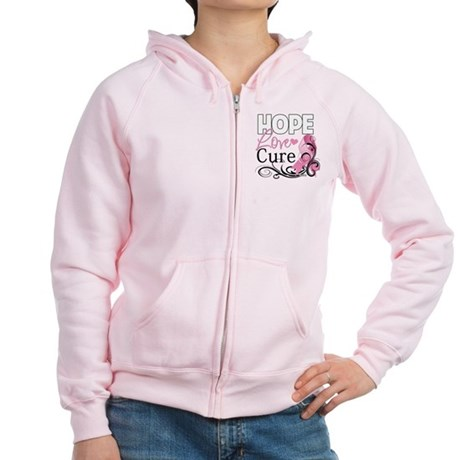 Hope Love Cure Breast Cancer Women's Zip Hoodie