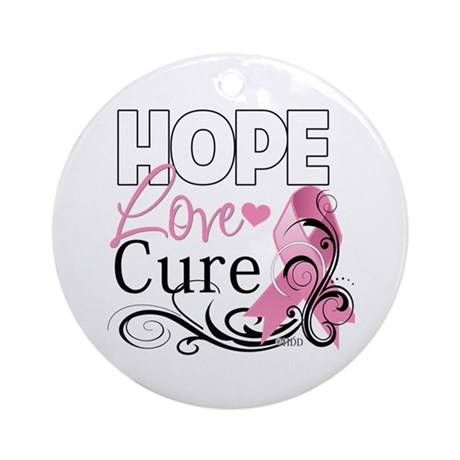 Hope Love Cure Breast Cancer Ornament (Round)