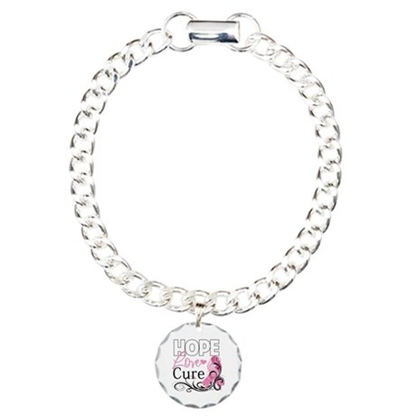 Hope Love Cure Breast Cancer Charm Bracelet, One C