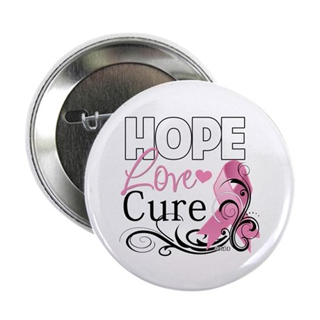 "Hope Love Cure Breast Cancer 2.25"" Button (10"