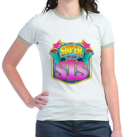 Pink Super Sis Jr. Ringer T-Shirt